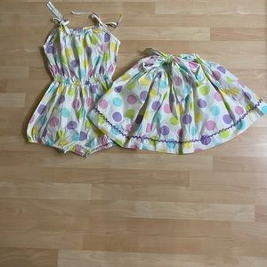 Kelly's Kids Girls Pastel Dot Romper Skirt 8-10